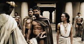 300 - King Leonidas and Queen Gorgo talking with the Persian messenger