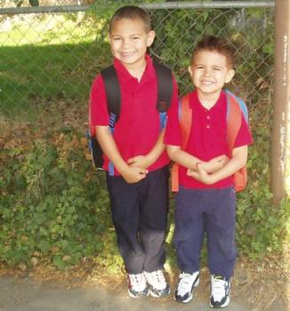Kids - A picture of my oldest two sons on the first day of school lsat year. My oldest is in 2nd and my youngest in Kindergarten.