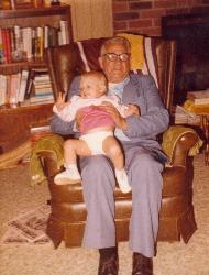 "Grandpa And Karen - This is my ""boyfriend"" Grandpa with his great-granddaughter, Karen, taken in late 1982 or early 1983."