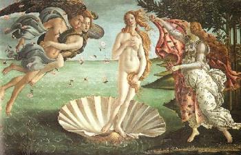 Boticelli's Venus - The birth of Venus c. 1485 painted by Boticelli.
