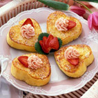 """French Toast with Strawberry Butter - Serve this French toast made with Italian bread topped with flavored butter -- a perfect way to say """"I love you."""""""