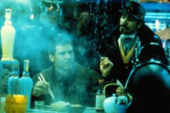 Blade Runner - Scene were you can see the steam and the dirty of the future that presents this movie