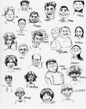 Caricature of us - This was made by one of my friends, Mikel.. He's really good in sketching things..