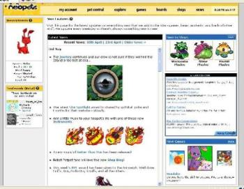 Neopets - A screenshot I took of Neopets website.