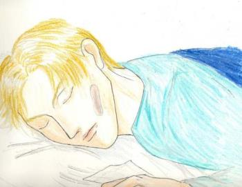 sleeping teen - an illustration of a teenager sleeping... perhaps imagining at the same time.
