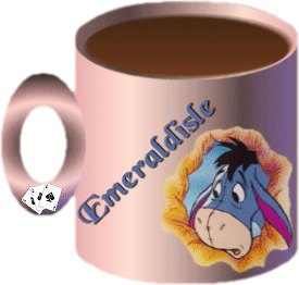 Coffee Cup - A coffee cup I created with Eeyore on it along with my name.