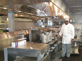 A restaurant kitchen - Does the restaurant you eat in have as hygienic a kitchen as this one?