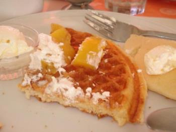 waffle - I'm nearly finish eating my delicious waffle. Since it is really quite addicting, I can't get enough of it.