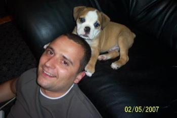 my boys - here is my bf and my little english bulldog puppy.