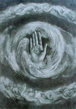 Kahlil Gibran's most popular painting - Known as the Divine World or simply as the Eye in the Palm, this is one of Gibran's most popular works of art. This painting is even rendered on the wall that houses his final resting place in his hometown of Lebanon.