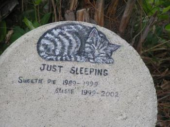 Pet Memory Stone - This is the memory stone I use in my little pet cemetary. I painted it on a round flagstone that I bought at Walmart. It stands in a small flower bed.
