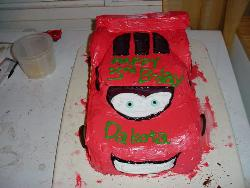 3 year olds b-day cake - This is just one pic of one cake my sister has made and she did it with no mold, carved it out of brownies