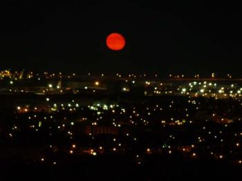 red moon - Photo of a red moon rising.
