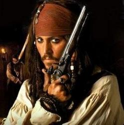 Jack Sparrow - I think he's gorgeous as Jack Sparrow. It's definitely my favorite role for Johnny Depp. I can't wait until the second movie is out on dvd. I'm dying to watch it again!