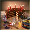 Birthday Cake - A lit birthday cake