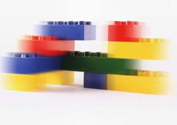 Lego Block Building-slightly out of focus - This is a photo of a lego block building--only it is slightly out of focus...LOL  I am sure that the tallest building made from lego blocks will be much taller.....LOL