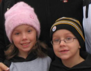 My two little ones - My two little ones taken on a very cold day in Pittsburgh just before the Steelers game