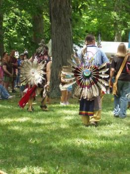 Native American Indian dancers - Plains Indian regalia at powwow in Ohio
