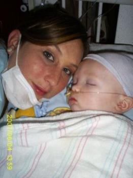 Kristy & Kaleb - A picture of Kaleb in the hospital, fighting for his life, and his mommy Kristy right by his side!