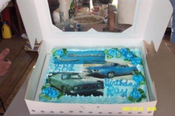 50th birthday cake - The cake has a picture of a 67' barracuda. My husband has been restoring it. He's still got a lot of work to do before it's on the road.