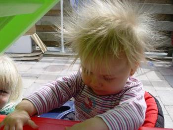 funny hair - this is how she looks when she touches plastic things!