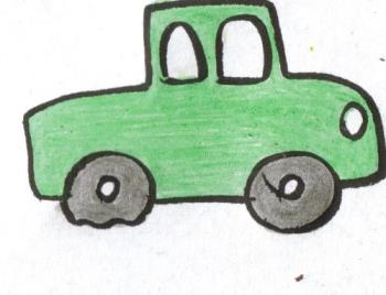 Car With Flat - This is a picture of a car with a flat tire. I colored it myself.