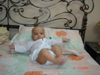 My son at home in 'kurta' shirt - He is 4 months old here in traditional 'kurta' shirt.