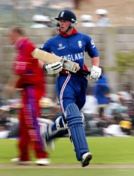 Paul Collingwood - A whole round performer of England cricket team taking a run.He is a great competitor for the next captainship post.