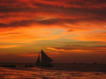 "Sunset in Bora  - I love taking pictures of sunset. It makes me feel good. Awesome! ("",)"