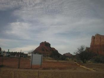 Bell Rock - Bell Rock, picture taken by me in February of 2007, from the truck, as we drove by it. W and his son C climbed this bell-shaped rock a couple of weeks ago, on a father-son outting.