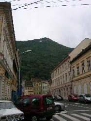 Street of Brasov City - One of the streets of Brasov City, with a beautiful view over the Tampa Mountain.