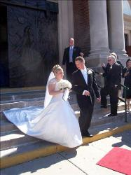 Our wedding! - My husband and I walking out of the church right after our wedding :)