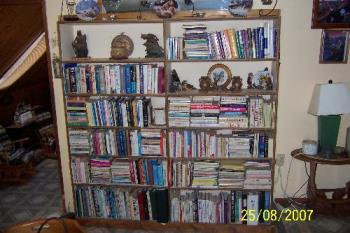 Photo of book, owl and butterfly collectibles - Photo of my downsized library. I used to be more of a collector of books for the sake of collecting. Now only add to my book collection when I absolutely 'have' to have it. This photo also shows a few more owl and butterfly collectibles in our dining room area.