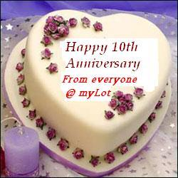 Anniversary Cake - Congratulations from all of us at myLot to you and Aaron on your 10th Wedding Anniversary.