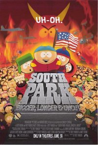 """South Park - South Park: Bigger, Longer & Uncut is an Academy Award-nominated animated satirical comedy/musical film released in 1999 and based on the animated television series South Park. The film parodies animated Disney films such as Beauty and the Beast as well the Broadway musical Les Misérables. It features 12 songs by Trey Parker and Marc Shaiman. The song """"Blame Canada"""" was nominated for an Academy Award. The film was rated R by the Motion Picture Association of America for frequent coarse language, crude sexual humor and violence."""
