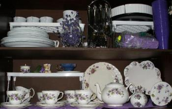 My Violet Teaset Collection - My violet tea set collection with extra bits added.