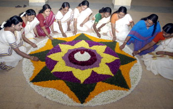 flower carpet - people arranging a flower carpet