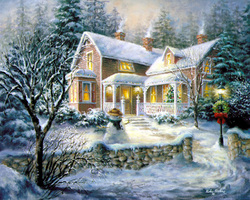 Winter Home - A winter home with lights