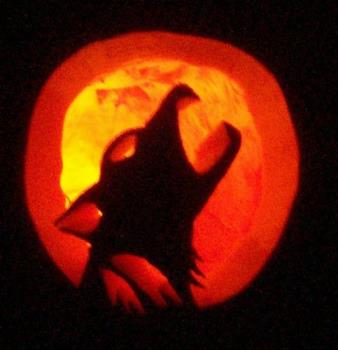 Howling Wolf - This is the pumpkin we carved tonight. Its a howling wolf.