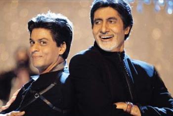 -My smile is cuter; -Oh really? - Shahrukh Khan and Amitabh Bachchan in Kabhi Khushi Kabhie Gham, a great bollywood movie:)