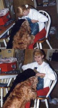 """Me with Rainbow and Bubbles at Christmas Time in ' - They loved Christmas time or any time that we come home and have a """"surprise for them."""