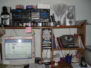 My computer desk - My messy computer desk