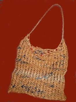 Ann's Bag-Bag - This bag was knit on a circle loom and the handle is just a chain stitch.