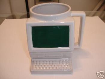 Computer Mug - A mug shaped like a computer. I got this for my dad for christmas.