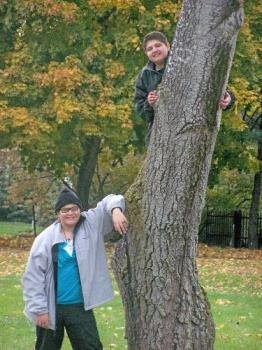 my kids - My daughter (standing) and son (up the tree LOL)