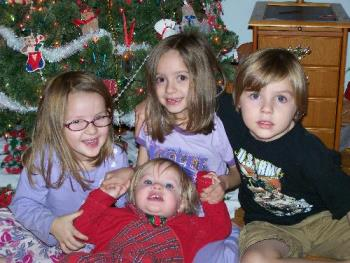 Christmastime - Brenna-5, Nora-20 months, Meagan-7 and Owen-6
