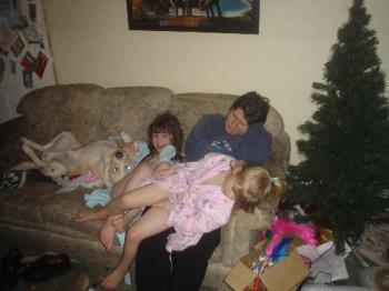 me, the kids and Nero, in laidback, protective pos - This is our rescued labrador, yes the one asleep on his back, lol. He sees his role chiefly as protective.