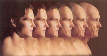Aging - This is an image of a man that starts young then in the aging process gets older.