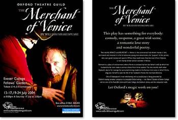 The Merchant of Venice - Oxford Theatre Guild Promotional Materials