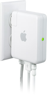 Airport Express - WiFi base station from Apple - very convenient to save space and keep cables controlled.